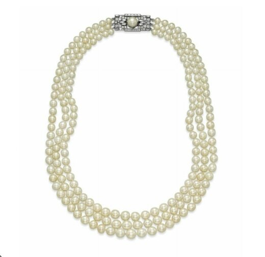 A three-strand natural pearl and diamond necklace, by Bulgari