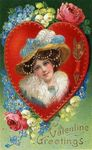 victorian_vintage_valentine_card_pretty_woman_flowers_hat_with_blue_feathers