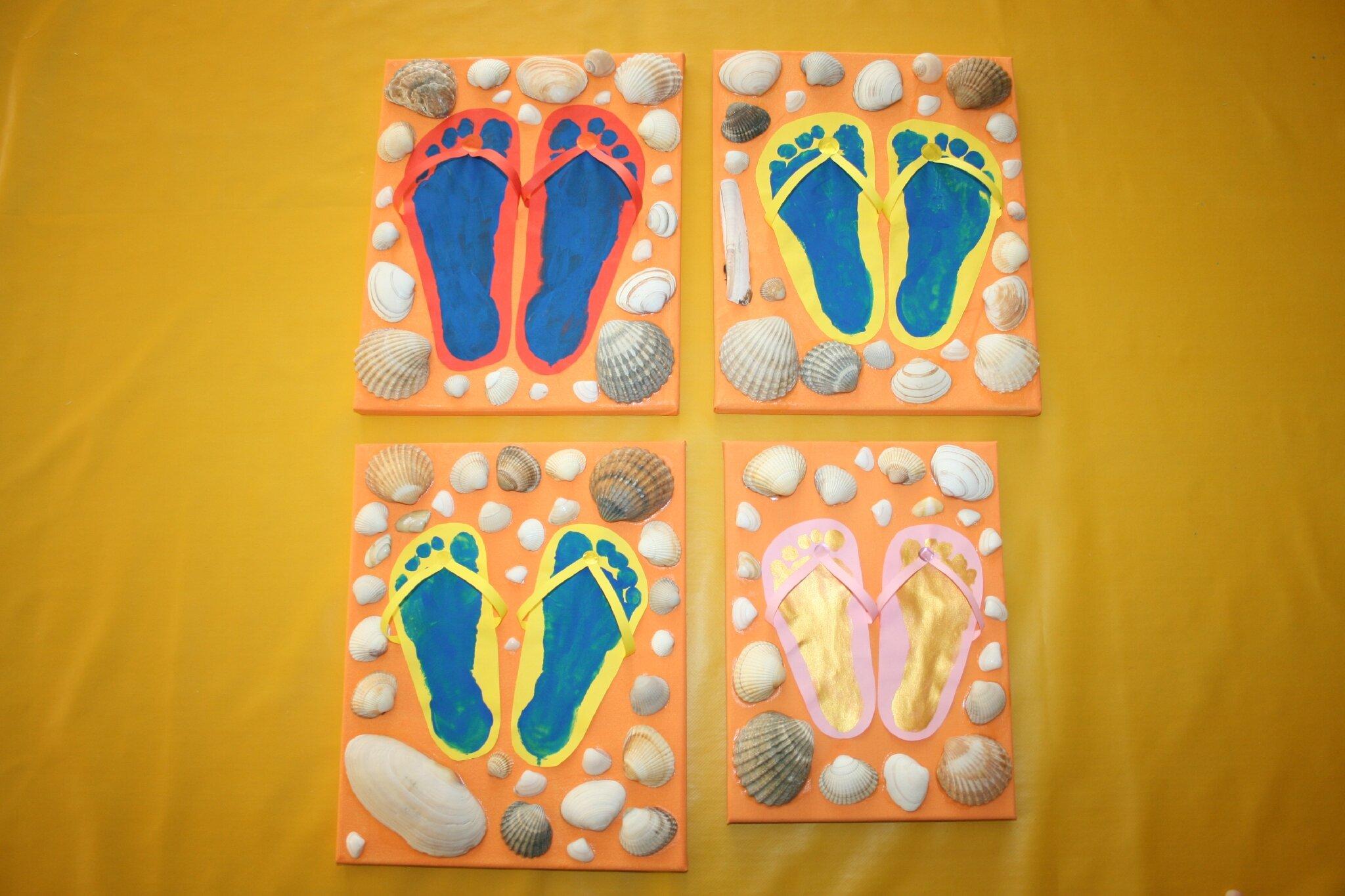 tongs empreintes de pieds la plage les lutins cr atifs bricolage pour enfants. Black Bedroom Furniture Sets. Home Design Ideas