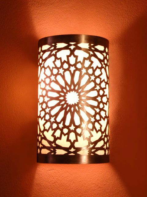 Moroccan Wall Light, Wall Sconce, fine chiselled rose pattern, Moroccan Arts and Crafts ...