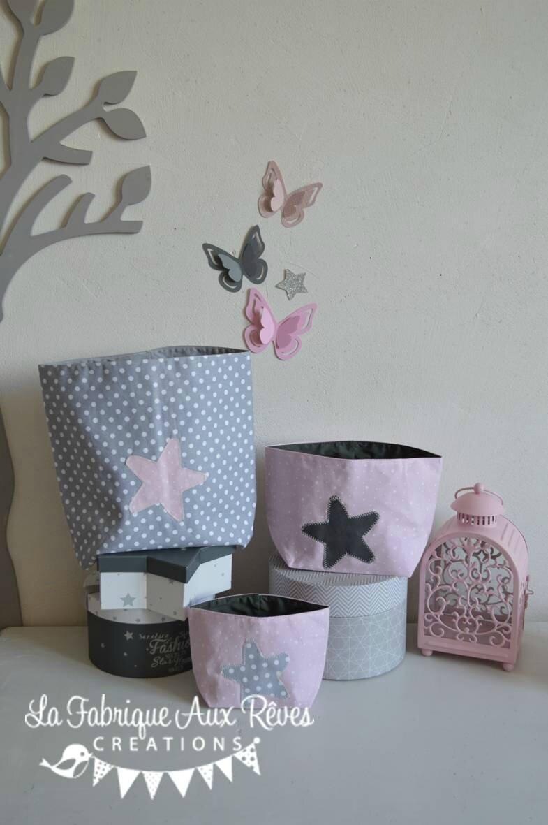 lot 3 pochons rangement étoiles roe poudré gris blanc - décoration ...