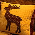 coussin blanc renne