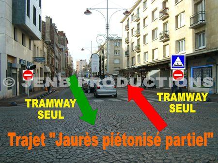 Tramway T1 Noisy-le-Sec Décembre 2008 03 tracé Jaurès pietonnisé © Archives JENB Productions