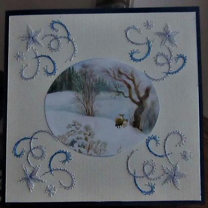 carte échange de cartes brodées décembre 2017 mamisette et tulipe