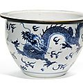 A blue and white 'dragon' jardiniere, qing dynasty, kangxi period