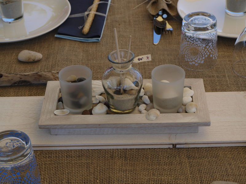 Centre de table fait maison photo de table th me grand large mon atelier dco - Centre de table bougie ...