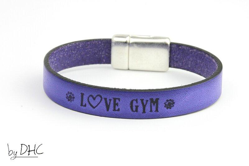 bracelet gym cuir bleu nuit