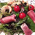 Salade jeunes pousses-serrano-langoustines