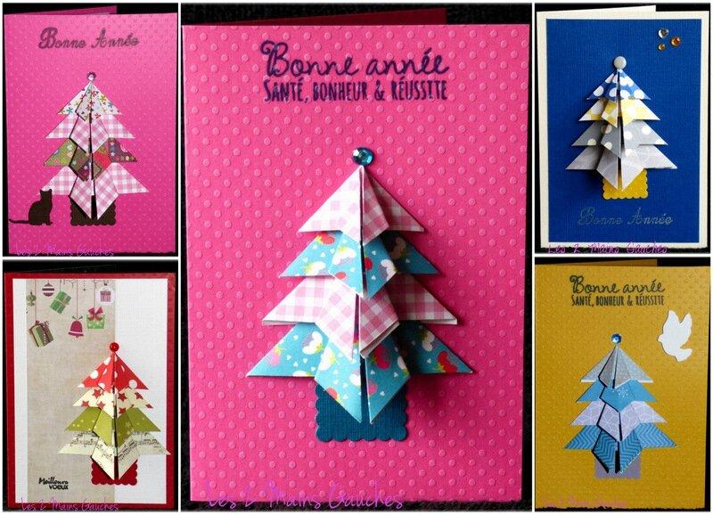 cartes de voeux avec sapin en origami