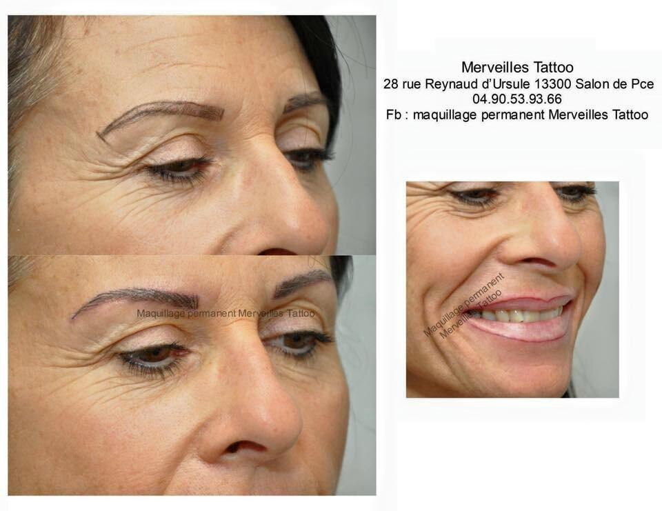 Maquillage permanent des sourcils en poil à poil et contour des lèvres réalisés par Vanessa