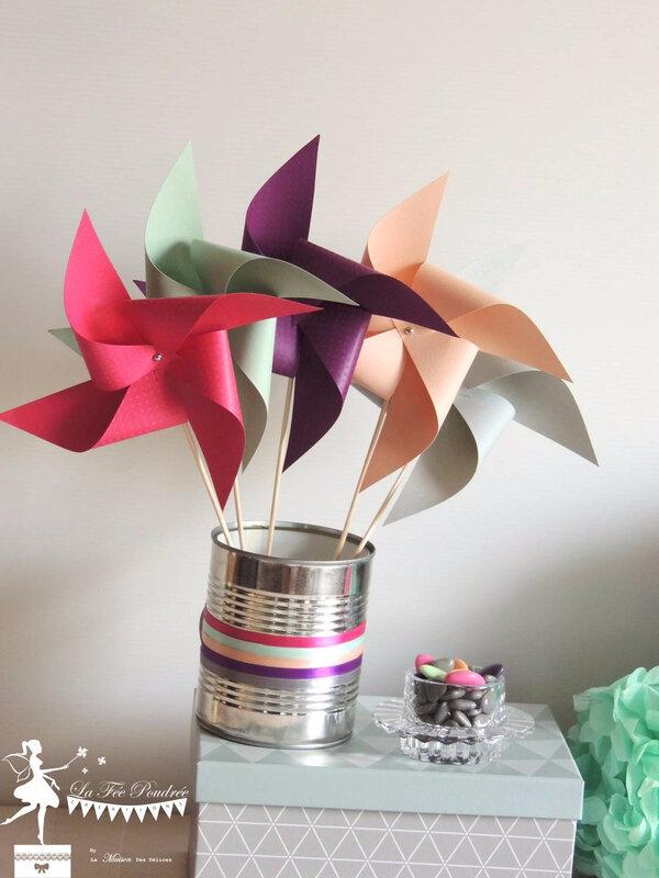 moulin a vent pompon prune fuchsia mint peche gris