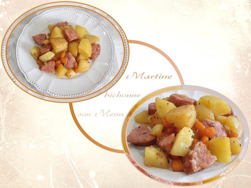 sauté pommes de terre et saucisson à l'ail