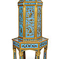 An extraordinary parcel gilt and eglomised pagoda shaped cabinet of chinoise style, france, early 19th century