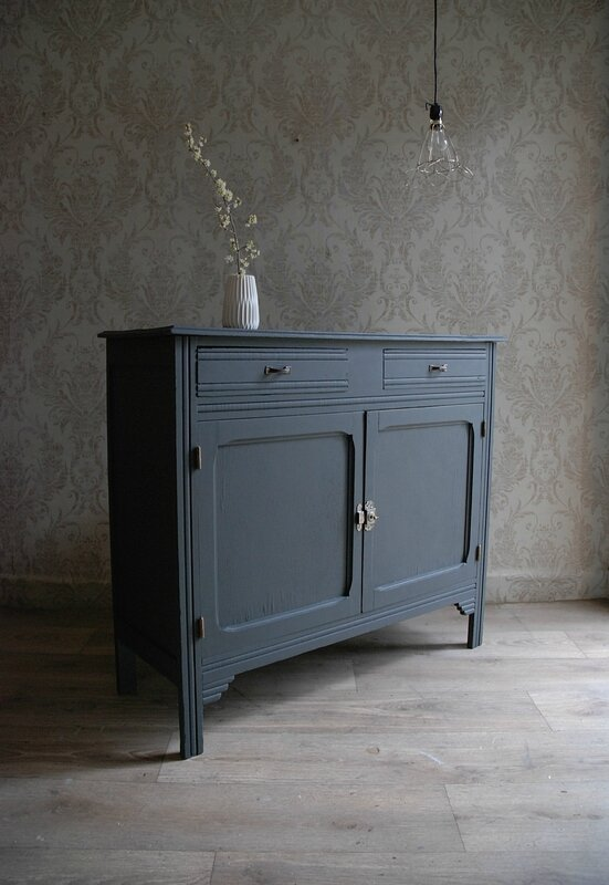buffet parisien gris charbon vendu atelier vintage. Black Bedroom Furniture Sets. Home Design Ideas