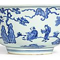 A large blue and white 'figures, dragon and phoenix' bowl, mark and period of Jiajing (1522-1566)