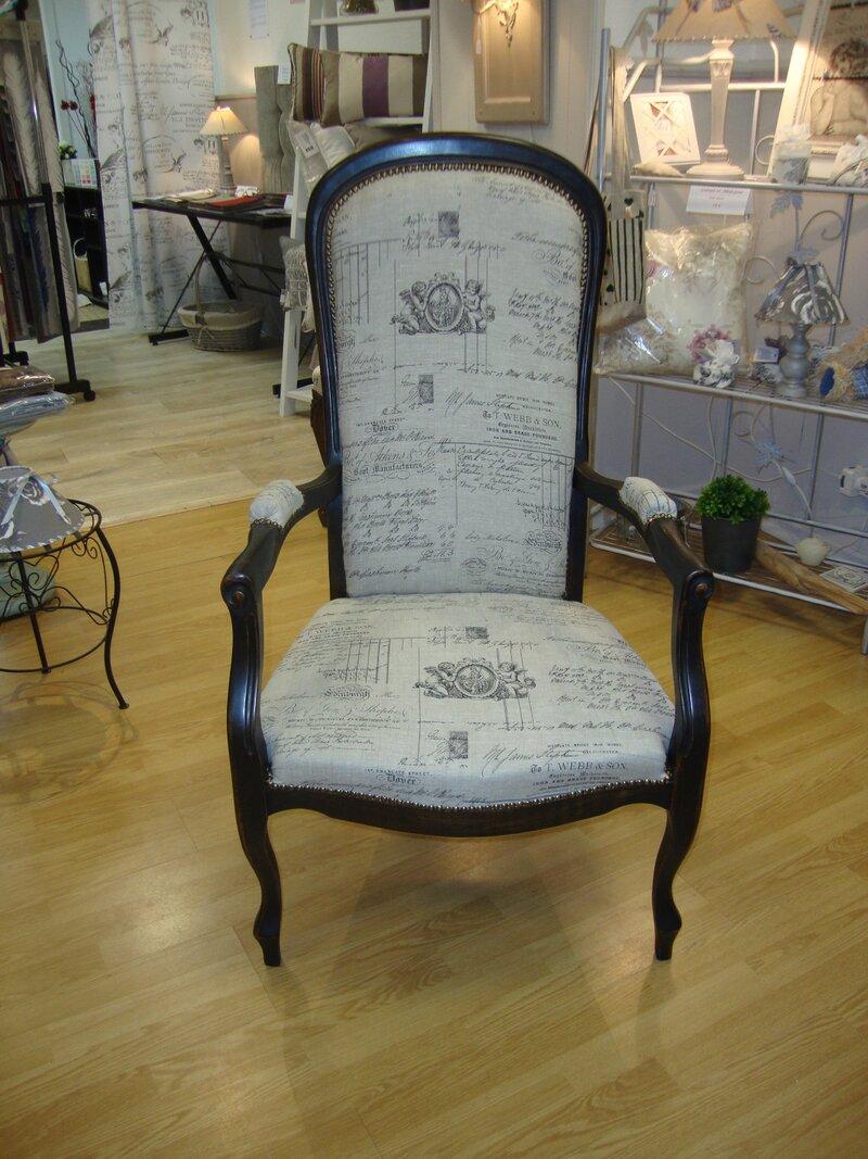 fauteuil patine noire et or tissu lin kr ative d co. Black Bedroom Furniture Sets. Home Design Ideas