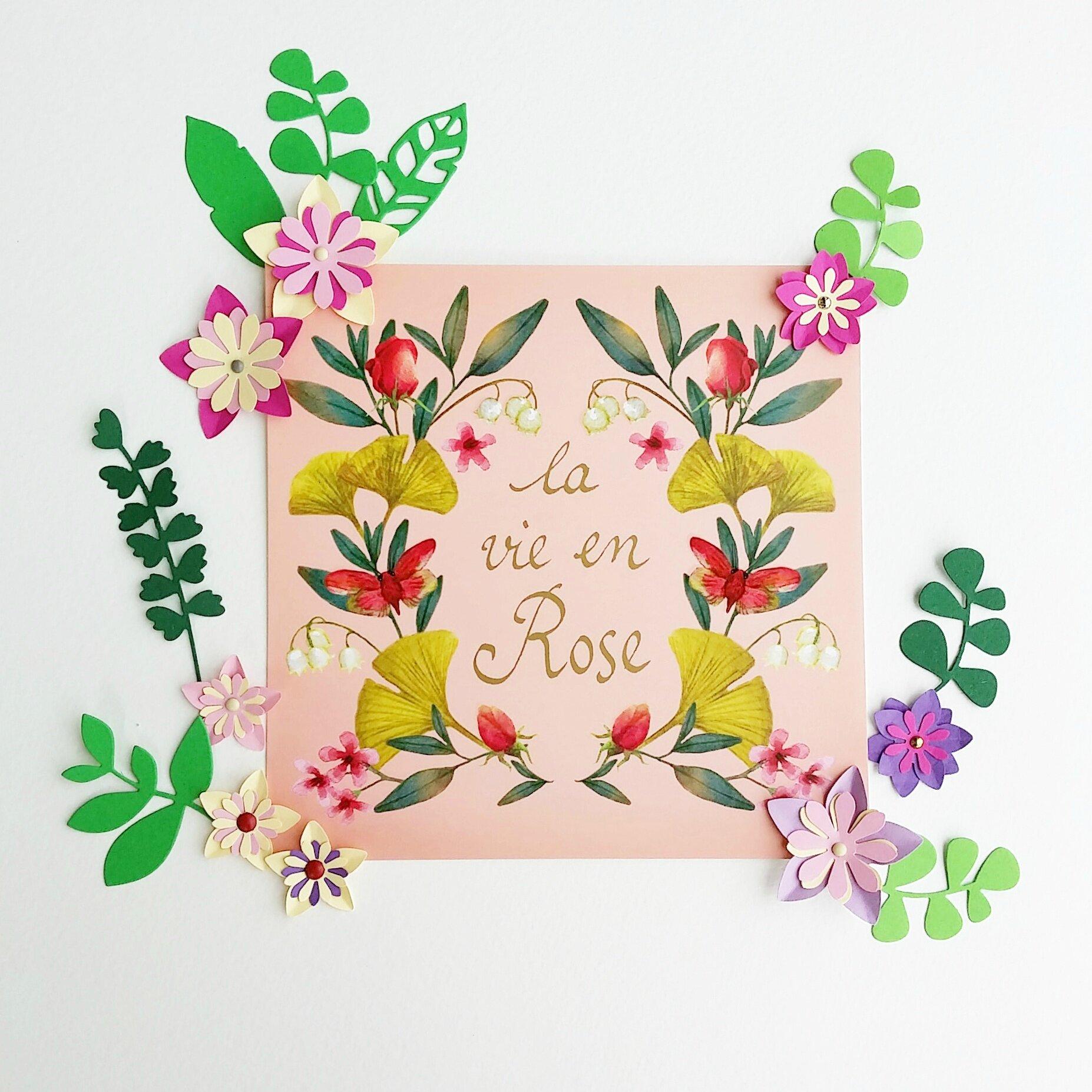 carte fleur papier