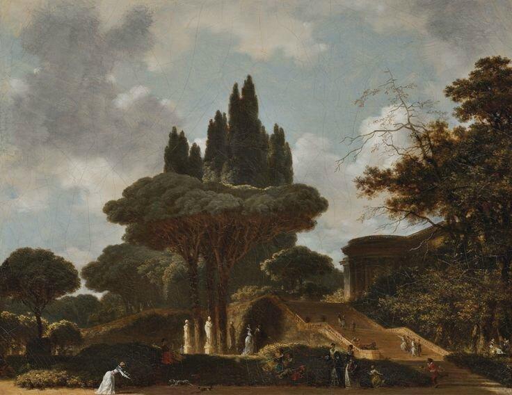 Jean-Honoré Fragonard (Grasse 1732 - 1806 Paris), Paysage italien à l'escalier