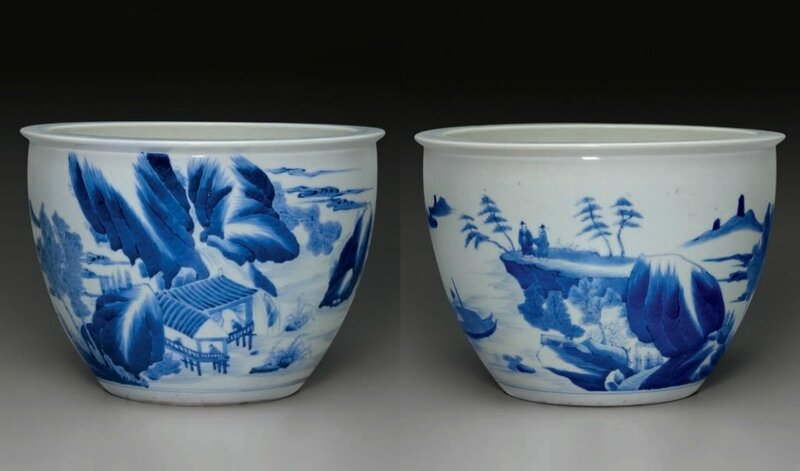A blue and white jardinière, Kangxi period (1662-1722)