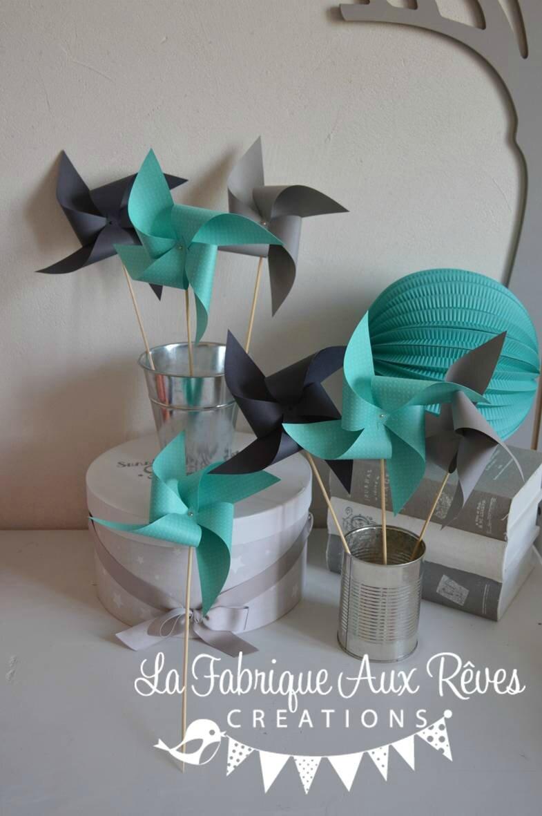moulins à vent turquoise gris mariage photobooth bapteme baby ...