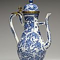 Ewer with Foliate Panels, porcelain with underglaze blue and French ormolu mounts. Porcelain: 1675-1725; Mounts: early 18th cent
