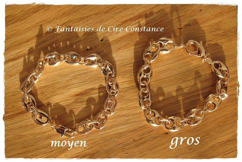 PLAQUE OR bracelet Grains de café MOYEN ET GROS