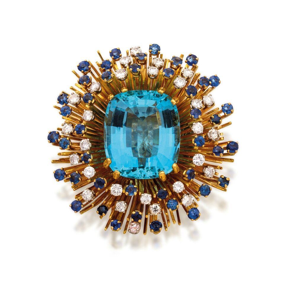 18ct gold, aquamarine, sapphire and diamond brooch, Tiffany & Co.