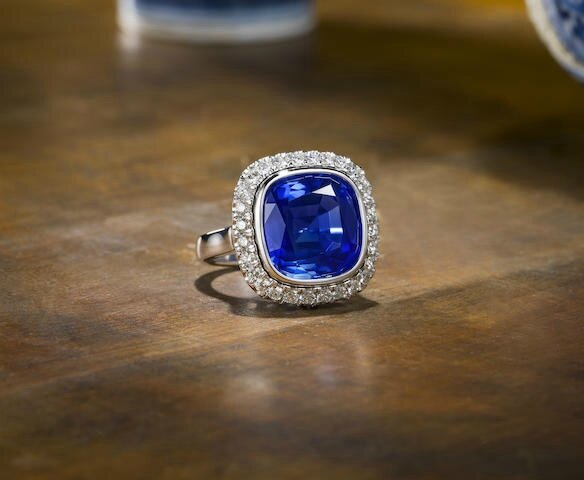 An exceptional sapphire and diamond ring