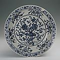 Blue-and-white plate with foliated edge and the design of twin lotus flowers, Yongle period(1403-1424)