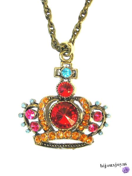 Pendentif - Sautoir Couronne Perles Facettées Crystal Couleur Multicolore Métal Couleur Bronze