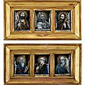 A set of five french enamel plaques of saints, jacques laudin ii (circa 1663-1729), limoges, late 17th-early 18th century