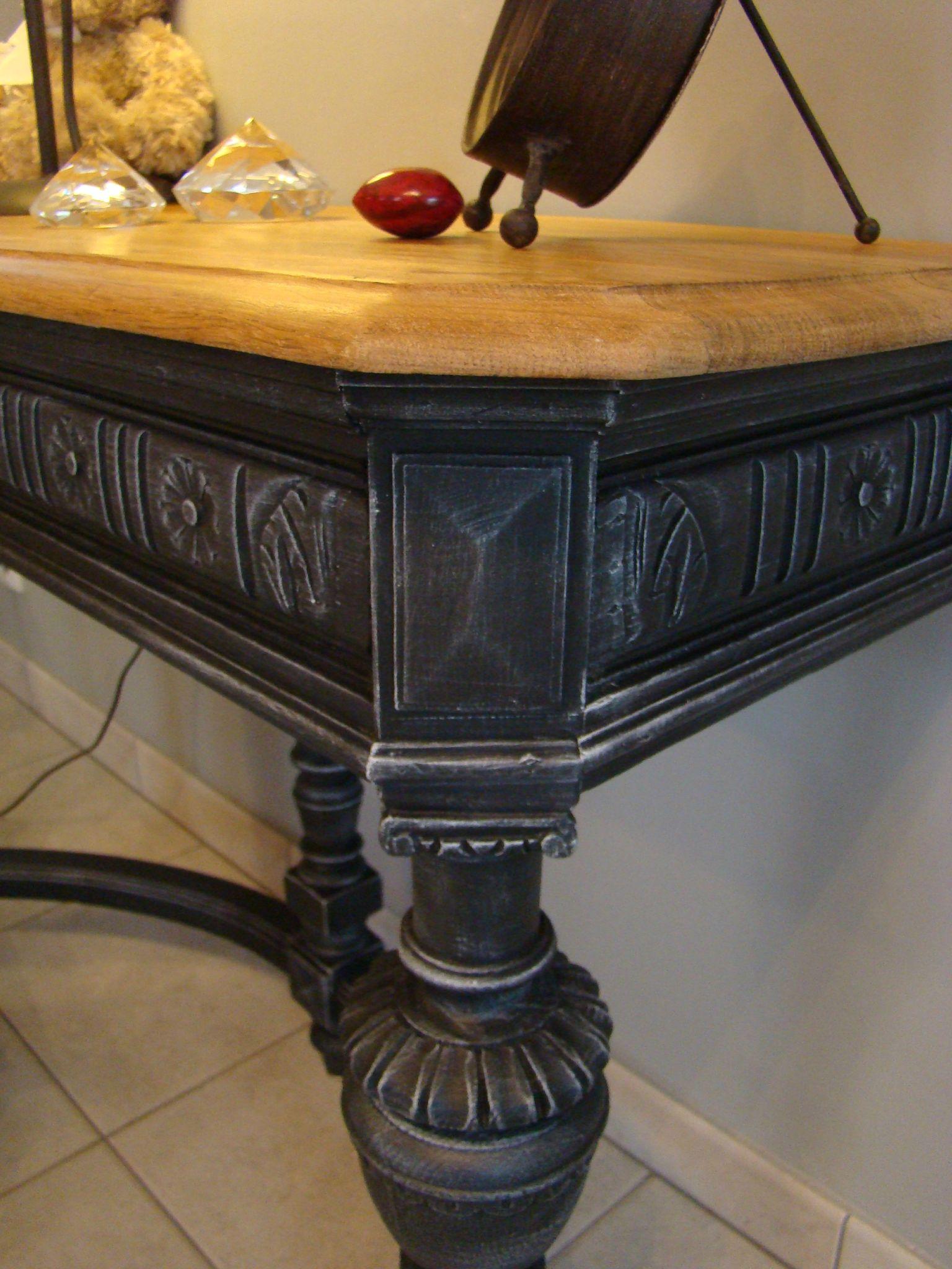 Console t te de lion et sa chaise relooking meubles for Lions du meuble