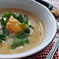 Soupe de butternut aux crevettes rouges d'argentine