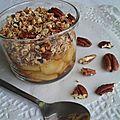 Crumble en verrine à l'avoine, pomme & noix de pécan