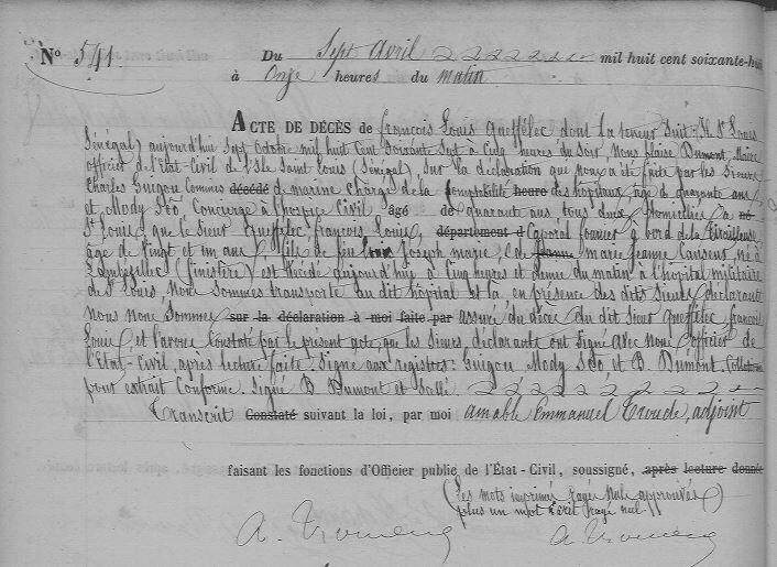 Décès à Saint Louis du Sénégal du soldat François Louis Queffelec