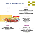 Menus des repas scolaires du 28 mai au 01 juin 2012