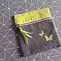 porte monnaie zippé papillon