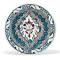 An unusual iznik pottery dish, ottoman turkey, circa 1590