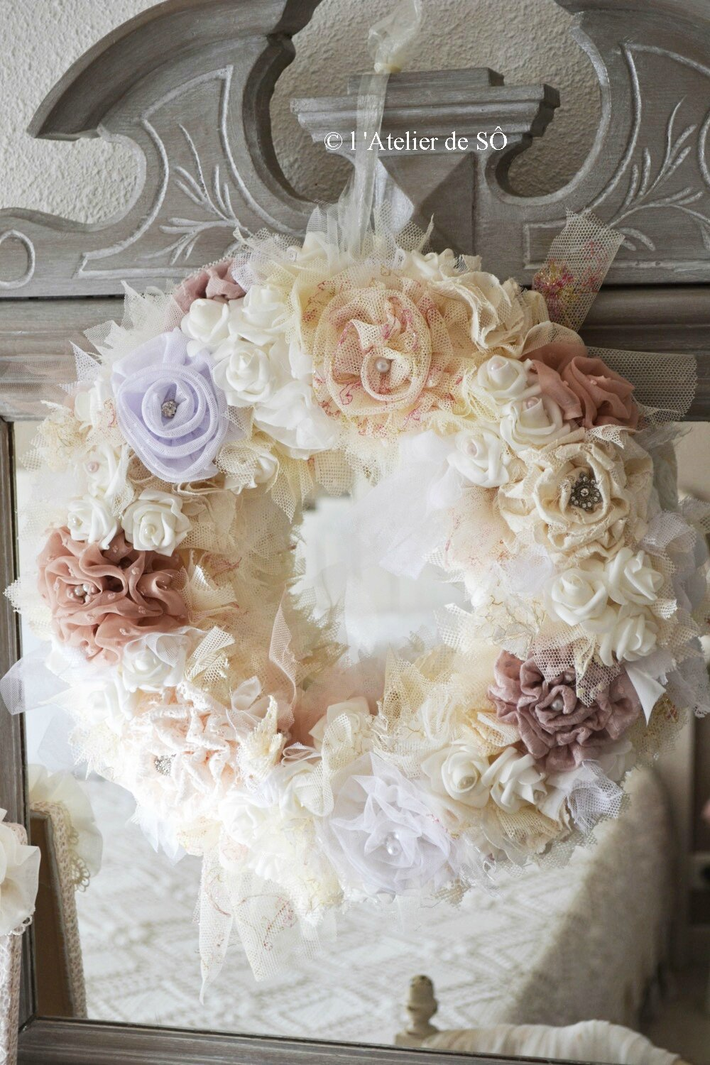 Couronne shabby chic l 39 atelier de s for Bougeoir shabby chic