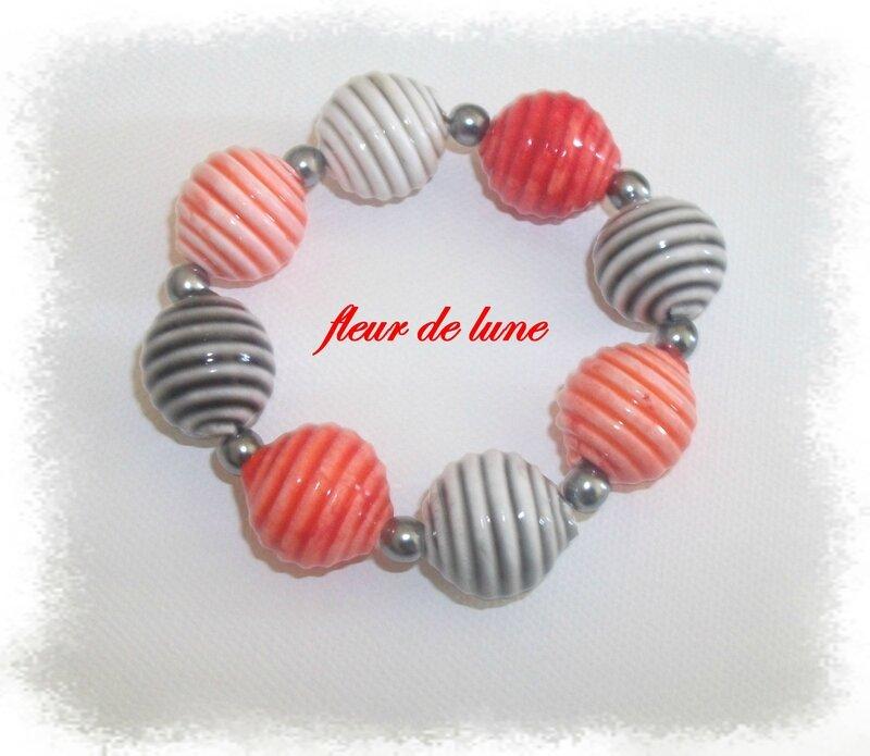 bracelet imitation céramique rouge et noir
