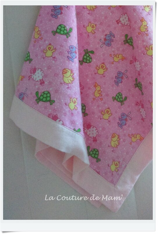 Plaid animaux flanelle rose