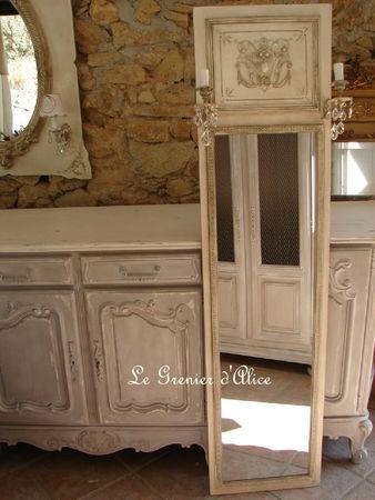 Miroir mural applique patine pampilles 180cm par 45 cm decoration de charme shabby le grenier d'alice