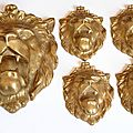 Reproduction / réduction d'une sculpture de tête de lion pour la décoration de vitrines haute joaillerie / visual merchandising.