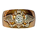 A russian imperial presentation crested gold and diamond antique men's ring. russia, 1908-1917