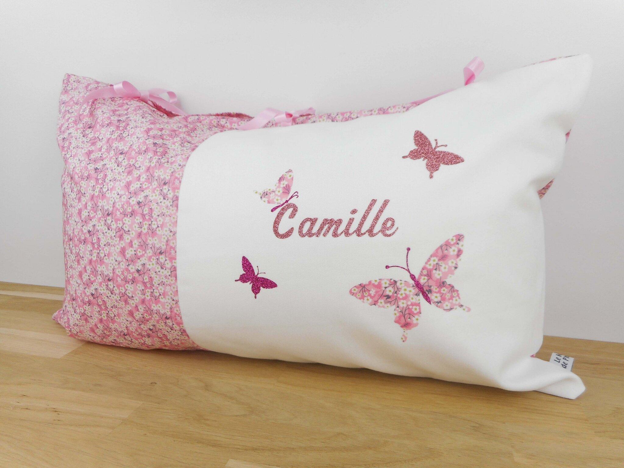 coussin personnalis tissu liberty mitsi valeria orchid e rose cadeau de naissance et liste. Black Bedroom Furniture Sets. Home Design Ideas