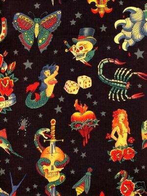 tissu tattoo fond noir import américain