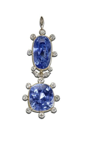 A sapphire and diamond brooch-pendant, circa 1900
