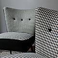 Paire de fauteuils cocktail 50's noir&blanc