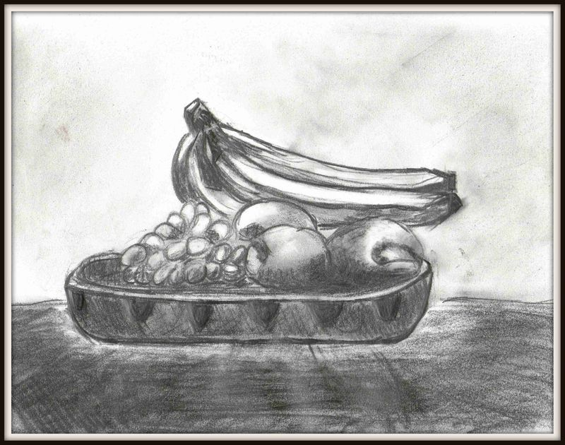 Nature morte corbeille de fruits blog de jules peintures et dessins en tous genres - Dessin de nature morte ...