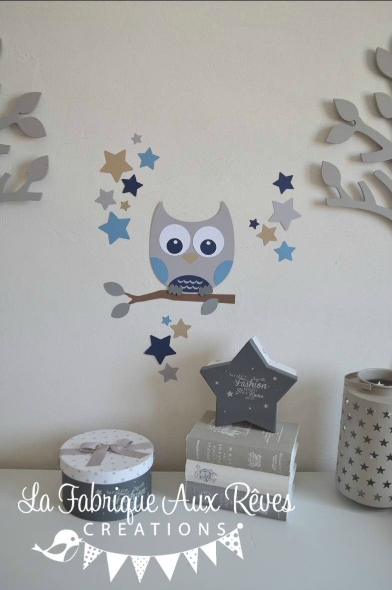 Stickers d coration chambre enfant gar on b b branche hibou toiles bleu clair bleu marine for Decoration chambre bebe hibou